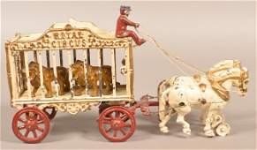"Hubley Cast Iron ""Royal Circus"" Lion Cage Wagon."