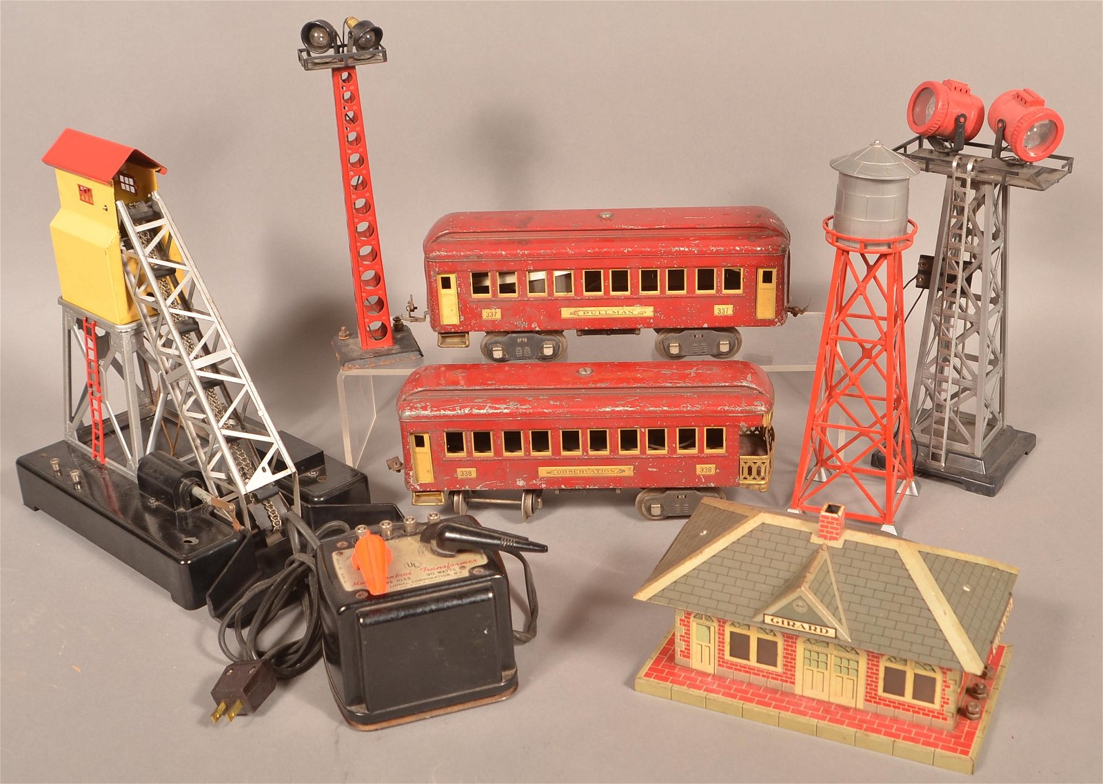 Vintage Train Yard Access and 2 Lionel Passenger Cars.