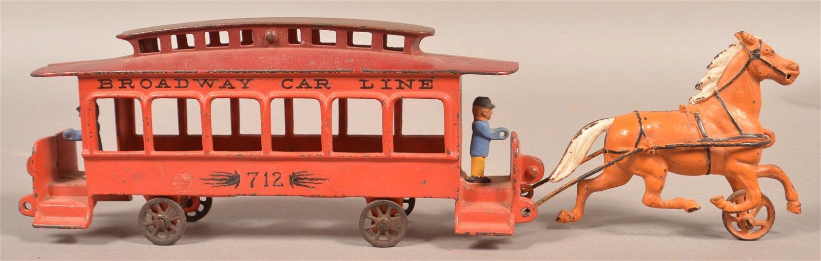 "Cast Iron ""Broadway Car Line 712"" Street Car Toy."