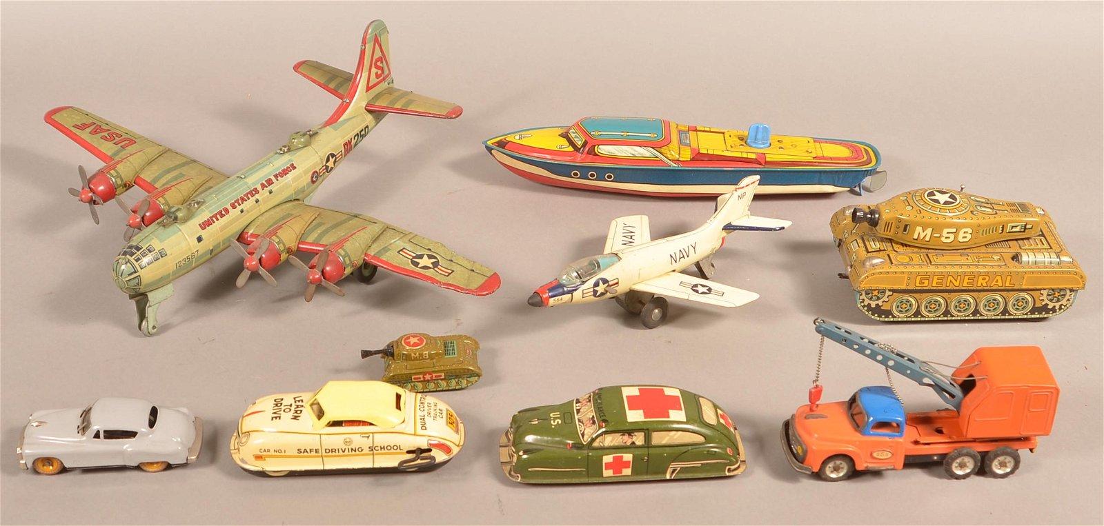 Lot of Vintage Tin Litho Toys.
