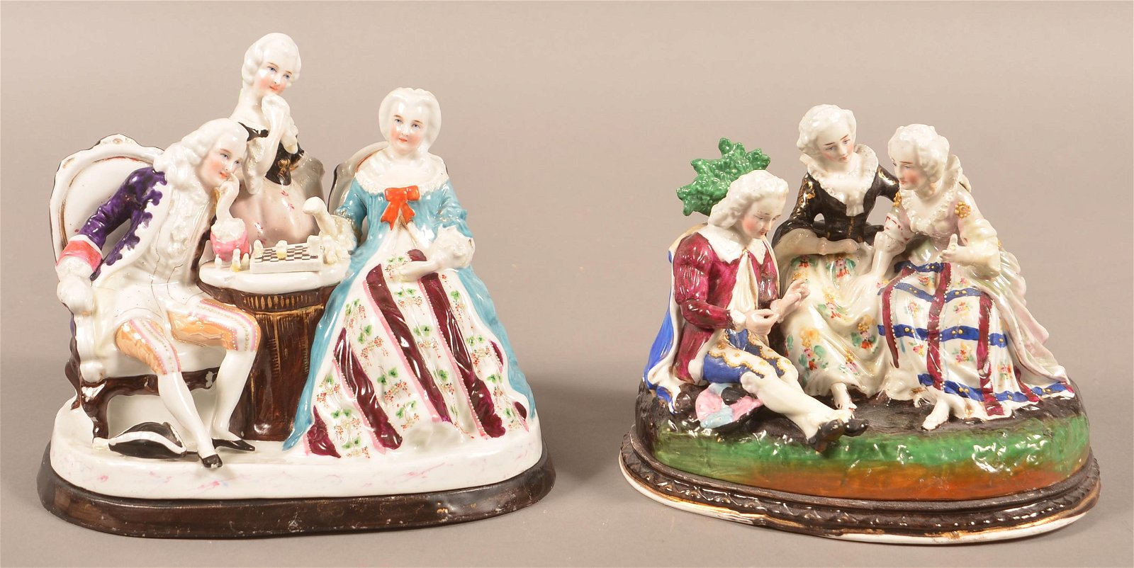 Two Antique Porcelain Figural Inkwells.