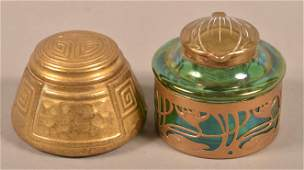 Two Art Nouveau Bronze Inkwells.