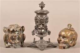 Three Antique Cast Metal Figural Inkwells.