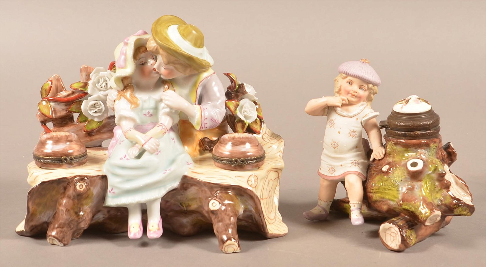 Two Antique Hand-Painted Porcelain Figural Inkwells.