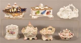 Seven AntiqueVintage Porcelain Inkwells