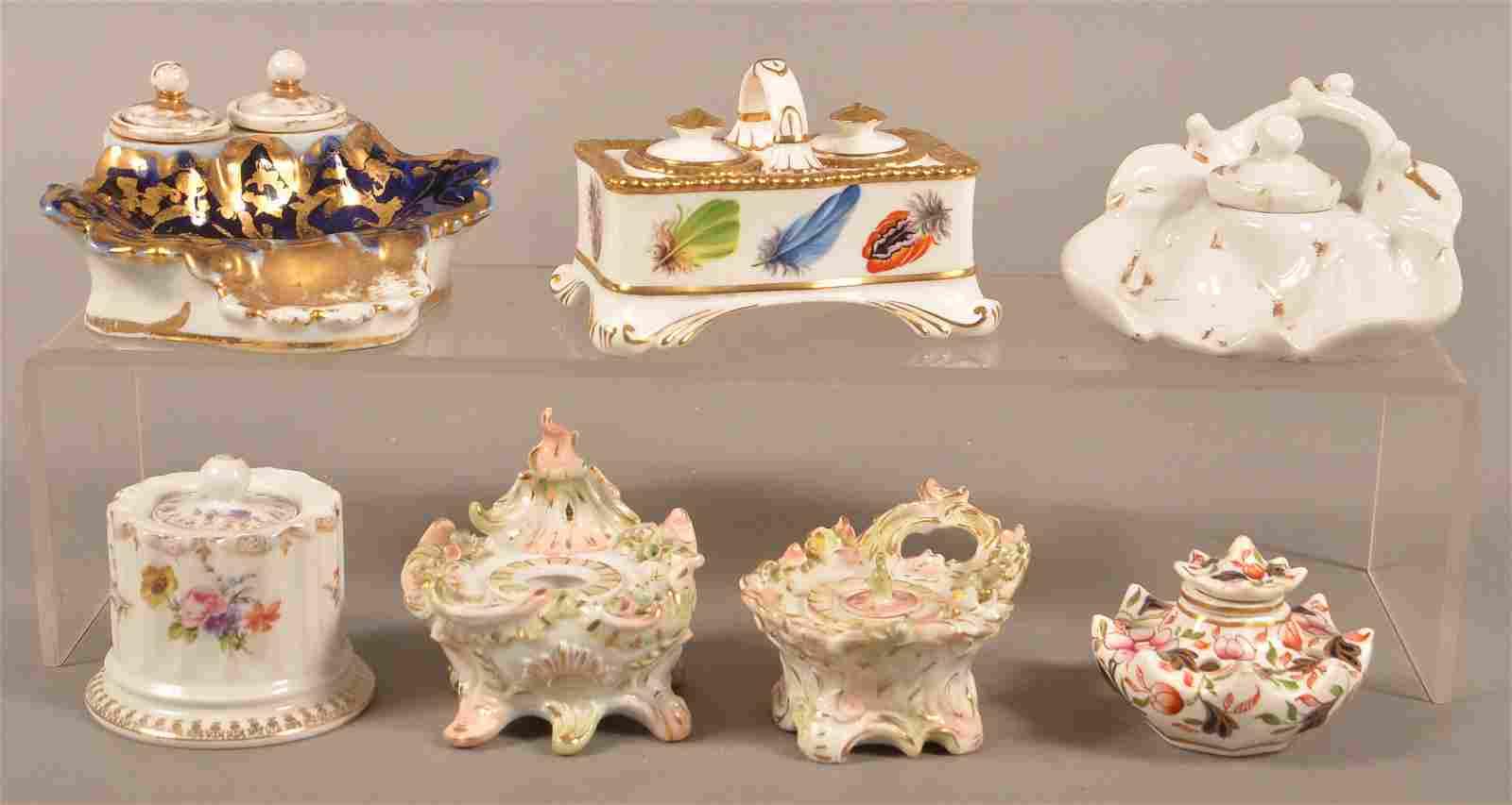 Seven Antique/Vintage Porcelain Inkwells.