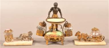 Three Antique Figural Inkwells.