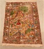 Vintage Silk Pictorial Oriental Area Rug.