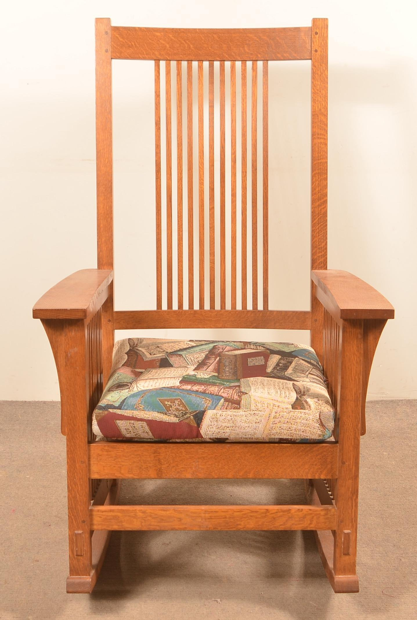 Modern Signed Stickley Oak Rocking Chair.