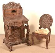 Antique AngloIndian Highly Carved Davenport Desk