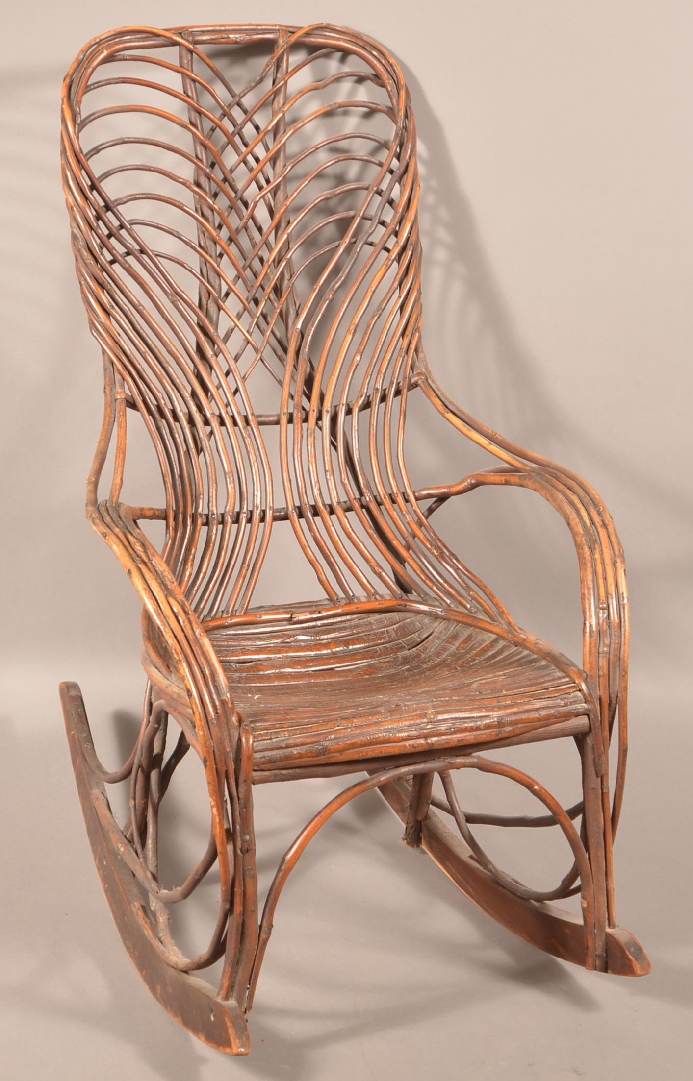 Late 19th Century Bent Twig Rocking Chair.
