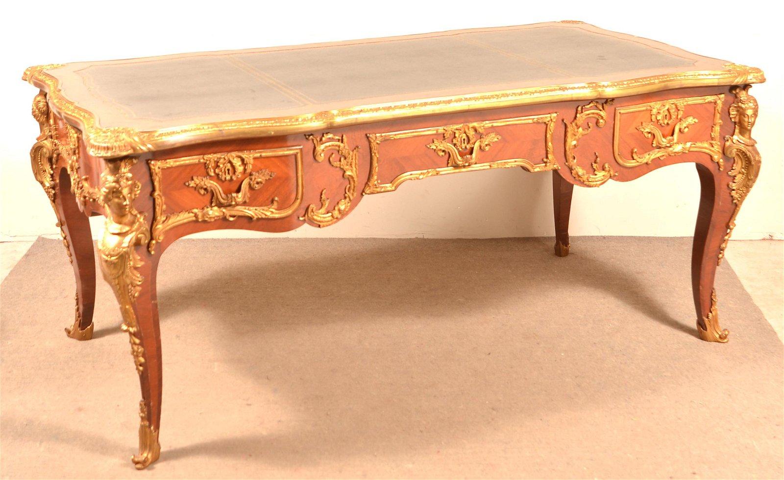 Vintage French Louis XV Style Bureau Plat Desk.