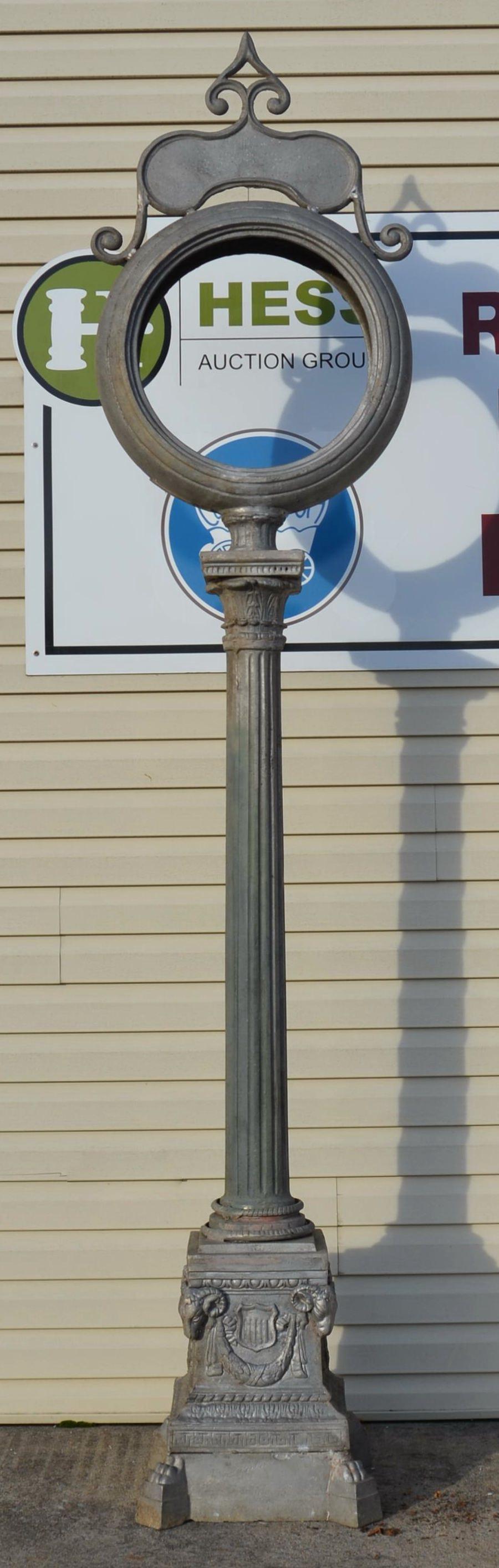 Reproduction Cast Aluminum Street Post Clock.