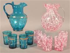 Two Victorian Art Glass Pitcher and Tumbler Sets.