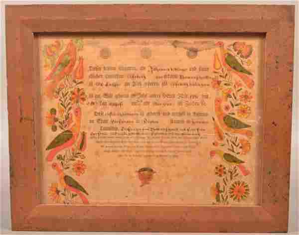 1796 Dauphin County, PA Printed & Illuminated Fraktur.