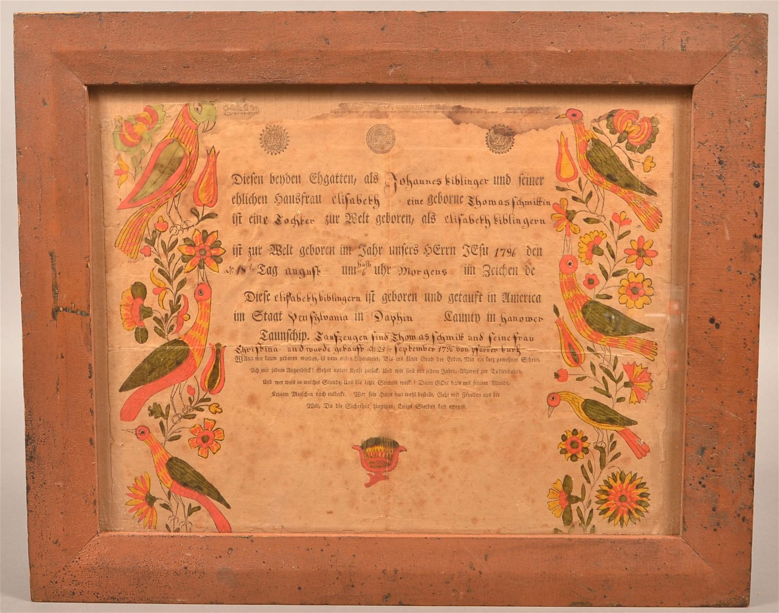 1796 Dauphin County, PA Printed & Illuminated Fraktur.