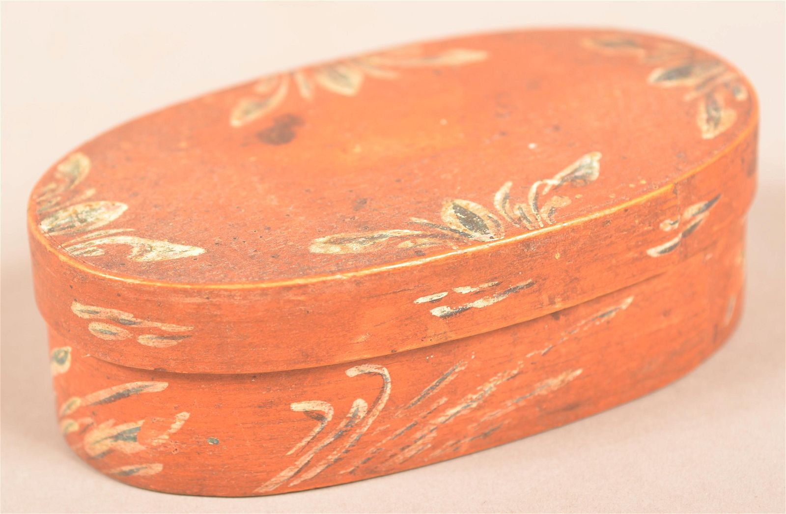 Berks County Paint-Decorated Oval Bentwood Band Box.