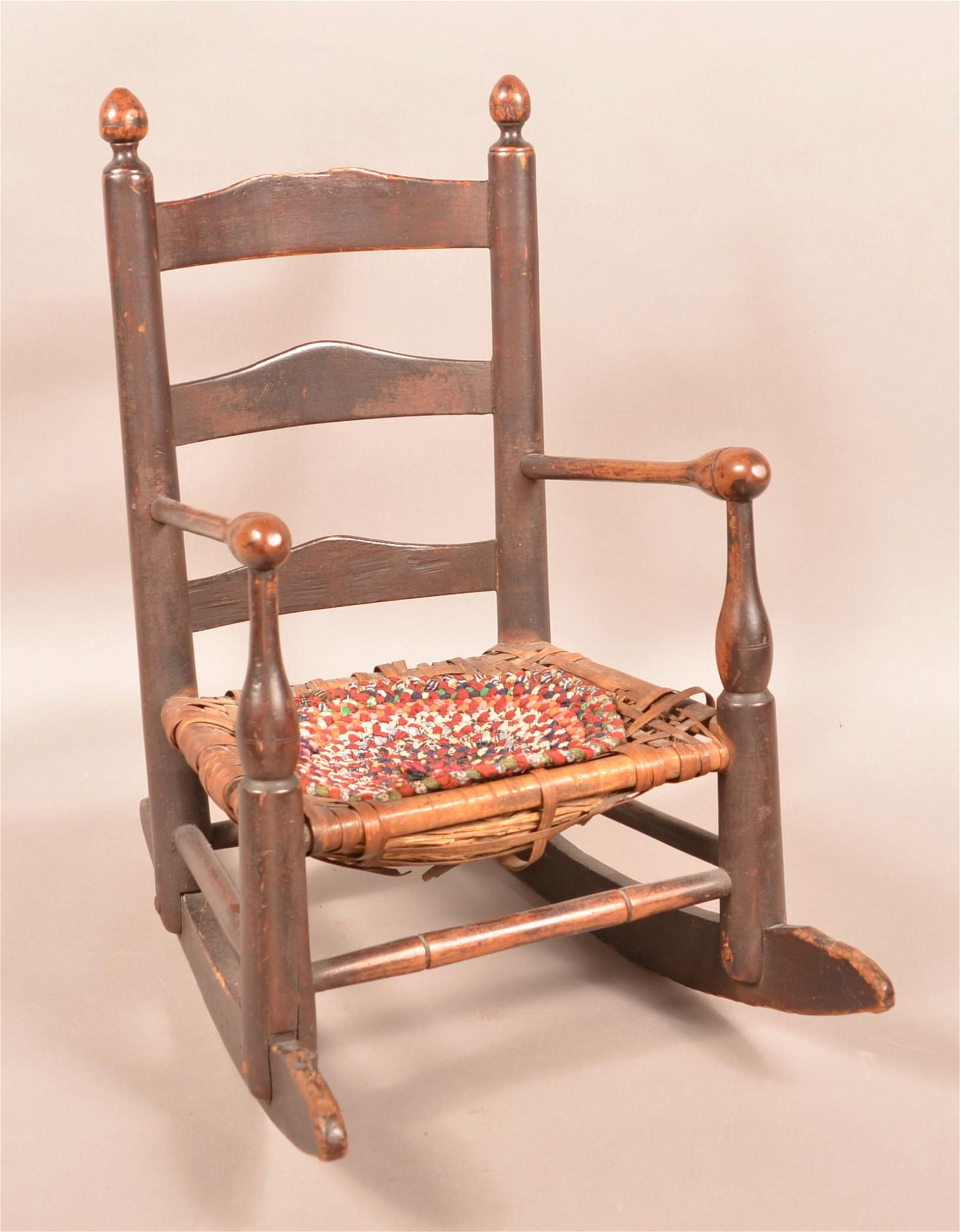 PA 18th Century Child's Ladderback Rocking Chair.