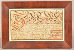 1797 Lancaster County, PA Fraktur Vorschrift.