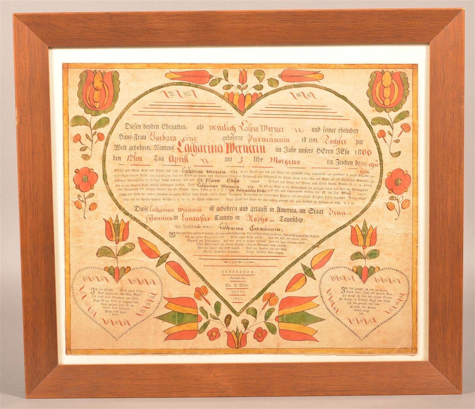 1801 Printed and Illuminated Lancaster Co. Taufschein.