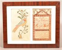 1827 Heinrich Keyser Birth Record Fraktur Bookplate.