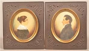 Pair PA 19th Century Miniature Oval Portraits.