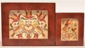 2 Hartung Contemporary Folk Art Fraktur Drawings.