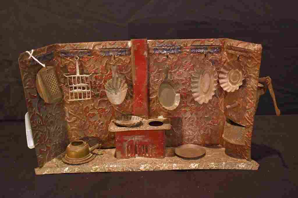 Vintage Toy Pressed Tin Kitchen With Cookware