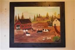 Keith Collis Oil On Canvas Farm Scene