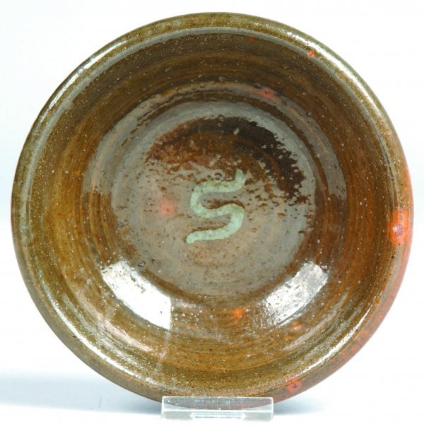 3: Green Stahl Pottery Redware Bowl, round form, mottle
