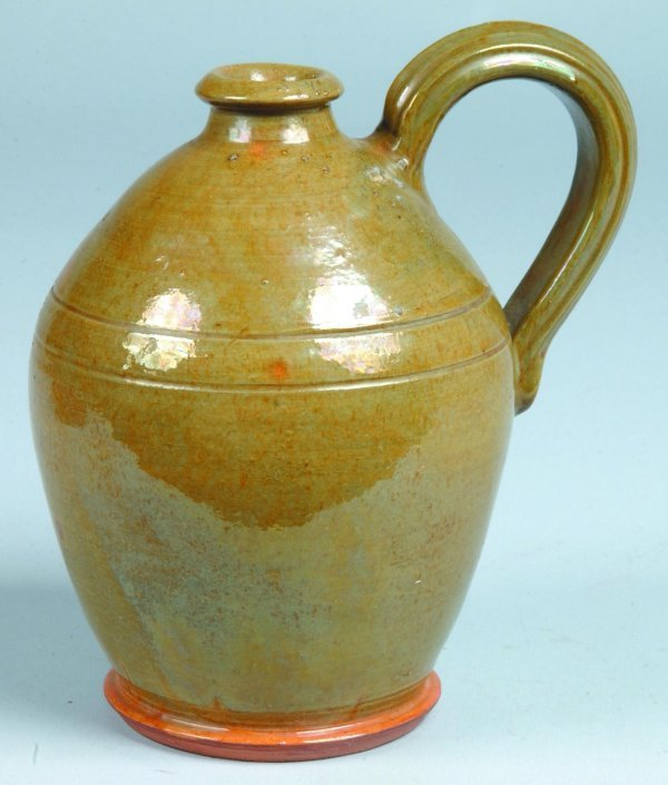 12: Green Stahl Pottery Redware Jug, bulbous with appli