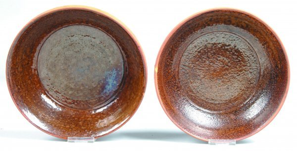 13: Two Stahl Pottery Redware Bowls, brown mottled inte