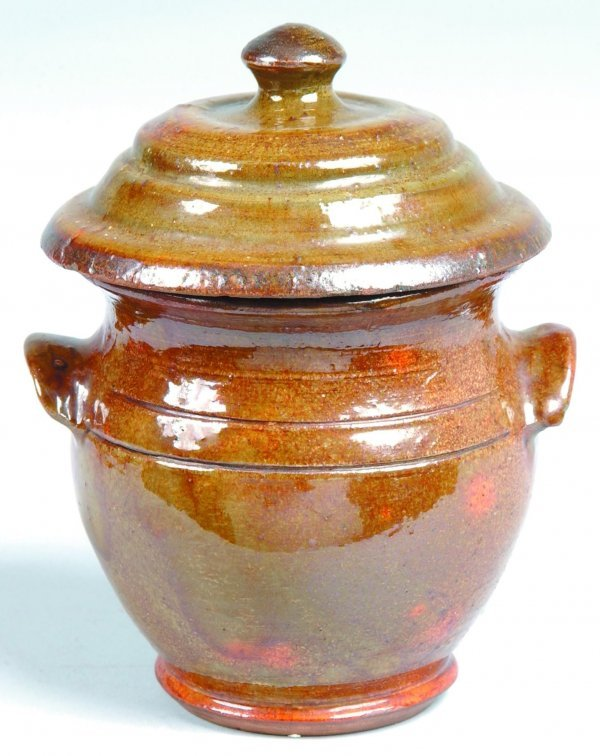 14: Small Brown Stahl Pottery Covered Sugar Bowl, mottl