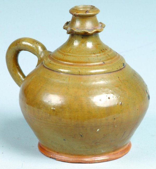 18: Green Pottery Redware Jug Attributed to Stahl Potte