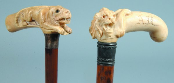 94: Two Carved Ivory Handles with Lion Motifs, L-shaped