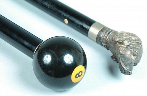 103: Eight Ball and Dog Head Canes, one with number eig