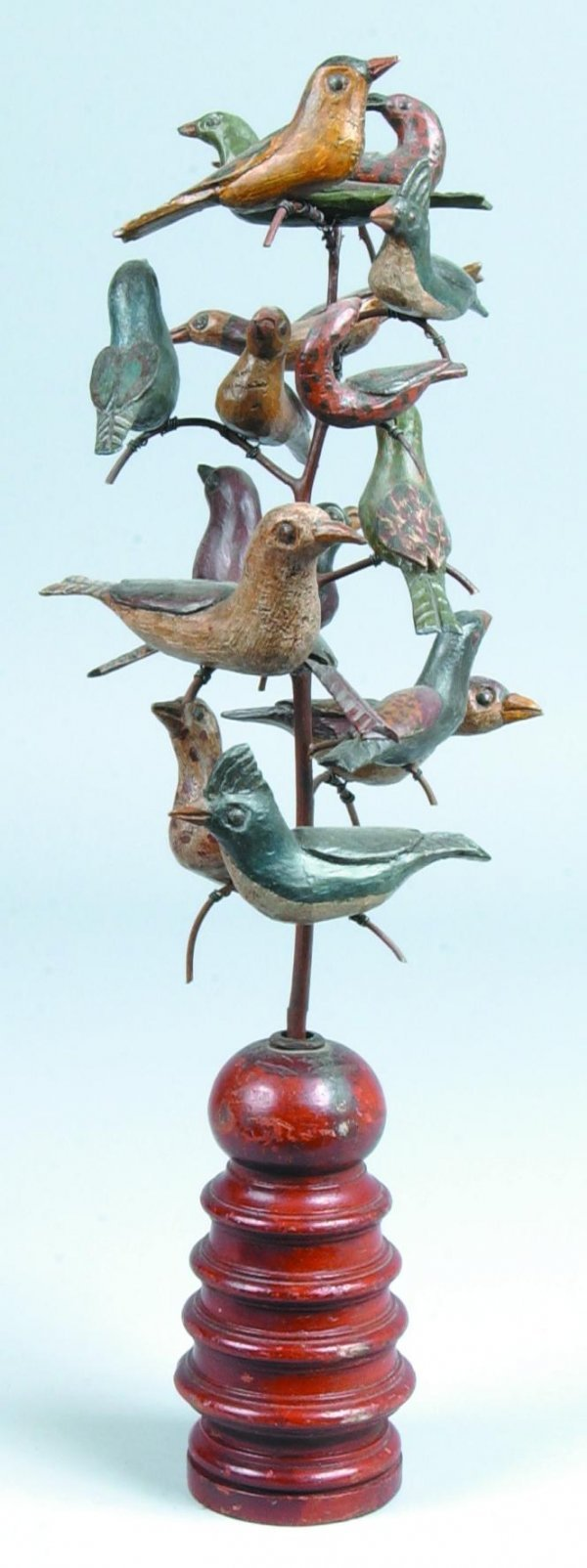 384: Hand Carved Bird Tree by David Ludwig, 15 carved a