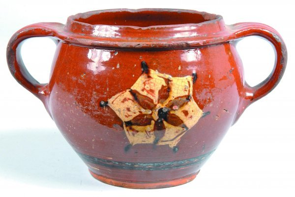 449: Slip Decorated Redware Jar, bulbous form with oppo