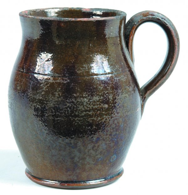 450: Small Redware Pitcher, bulbous form with applied e