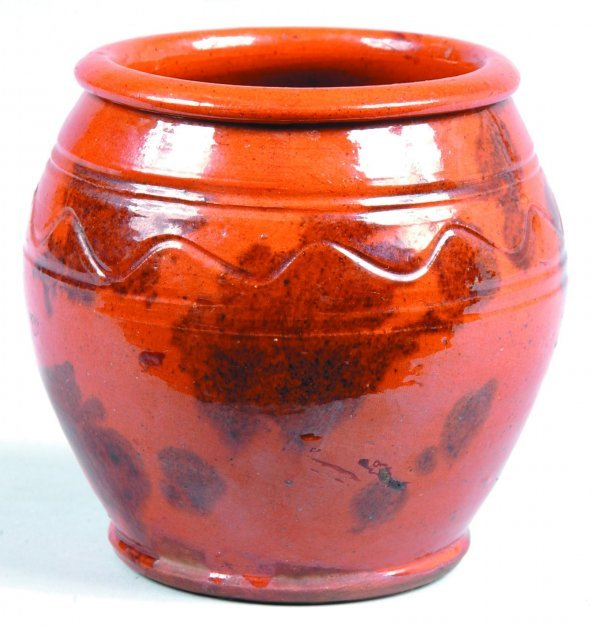 452: Small Redware Jar, bulbous form with rounded rim,