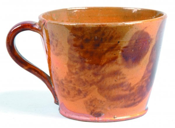 456: Redware Handled Cup, round form with tapered sides