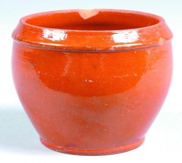460: Redware Bowl, bulbous form with concave rim, orang