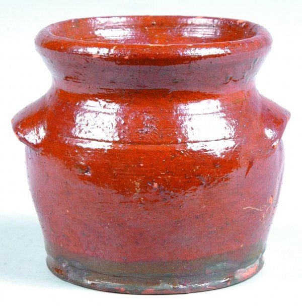 461: Schofield redware Mustard Pot, bulbous form with f