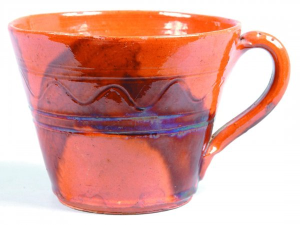 462: Redware Mug, round form with tapered sides, applie