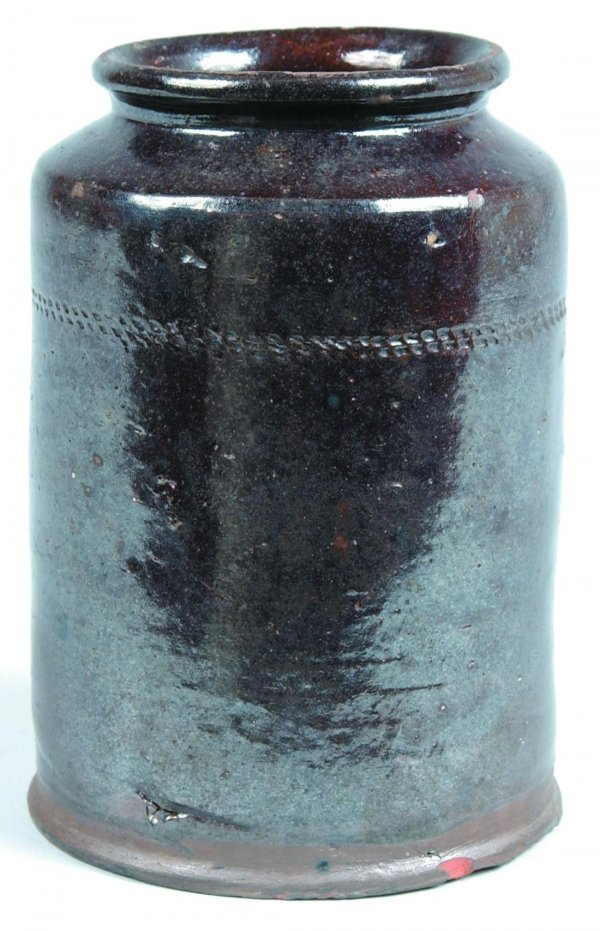 463: Redware Storage Jar, cylindrical form with rounded