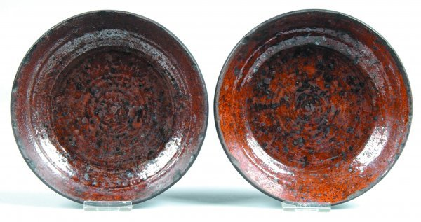 466: Two Redware Plates, round form with tapered sides,