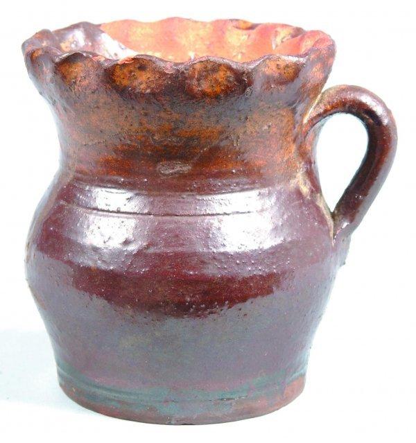 470: Schofield small Redware Pitcher, bulbous form, fla