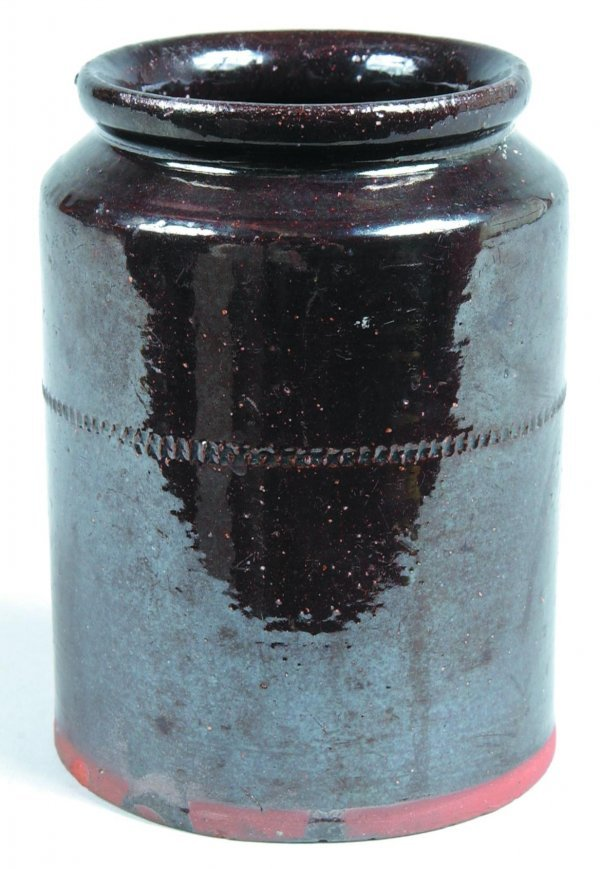 471: Redware Storage Jar, cylindrical form with rounded