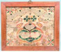 663: 1795 Hand Drawn and Illuminated Taufschien, attrib