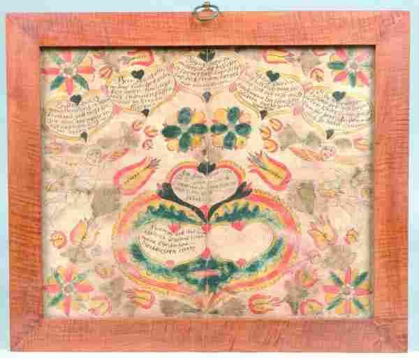 1795 Hand Drawn and Illuminated Taufschien, attrib